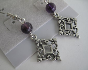 Amethyst and filigree drop earrings