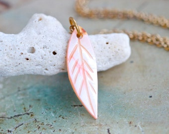 Pink Mother of Pearl Feather - Vintage Necklace