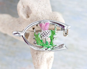 Thistle and Wishbone Antique Brooch