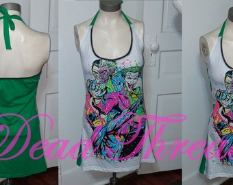 RECYCLED UPCYCLED Womens Halter Top dress Made From Batman Villain two face joker T shirt CHOOSE size