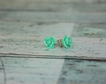 Aqua Green Rose Earrings
