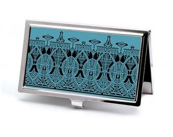 Victorian Business Card Case, Card Holder, Credit Card Case - Intricate Teal Blue and Black Vintage Ironwork Design