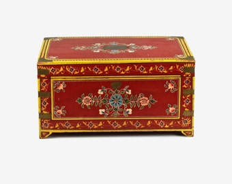 Vintage Hand Painted Miniature Wood Chest with Brass Trim