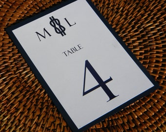 Nautical Table Numbers with navy blue backing and Nautical Rope