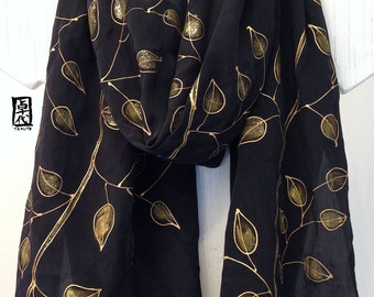 Kimono Golden Vine Scarf, Black and Gold, Hand Painted Scarf Silk, Anniversary Gift, 14x72 inches. Made to order.