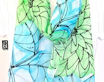 Silk Scarf Handpainted, Gift for her, Gift for Women, Gift for Wife, Aqua and Mint Green Floral Scarf, Silk Chiffon Scarf, 11x60 inches.