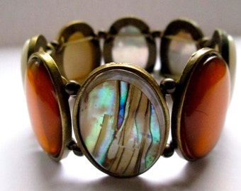 Vintage Bracelet Chunky Victorian Retro Glass and Lucite Stretch Bracelet - 1970s