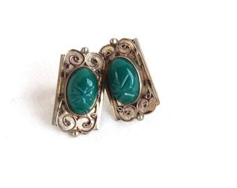 Mexican Screw Back Earrings Green Art Nouveau Face Mask Screwbacks Vintage Alpaca Statement Jewelry