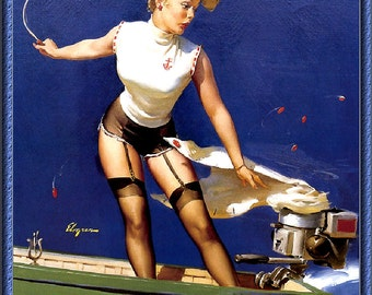 Vintage Pin-Up Girl by Gil Elvgren ~ Boating Mishap ~ NEW 8x10 Art Print Reproduction