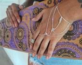 Sterling silver ring bracelet, multichain Indian style bracelet. Bohemian Ring Bracelet, adjustable wrist size