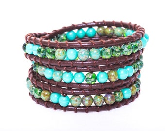 3x Boho Green and Brown Leather Bracelet Wrap//