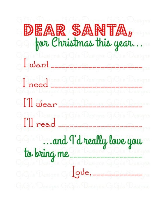 Merry Christmas Dear Santa Letter Wishlist Wish By