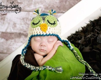 Owl hat, Sleepy Owl Hat for babies or children in cream, green, gray and blue. Newborn through adult sizes available.Made to order