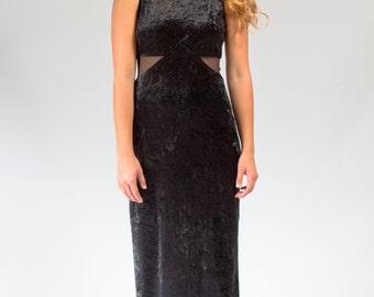 Black crushed velvet bodycon dress size small