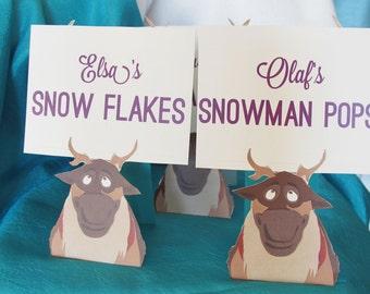 Frozen Party Food Labels, Frozen Party Nametags, Sven Food Labels, Custom Frozen Labels, Custom Frozen Nametags