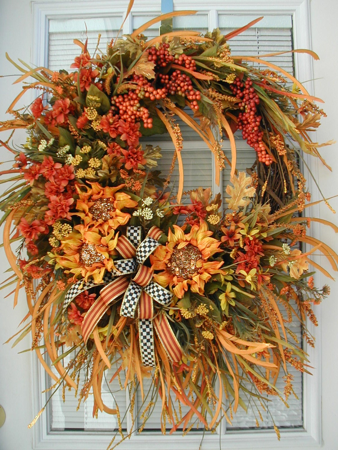 Fall Autumn Wreath Front Door Decor Thanksgiving Decoration