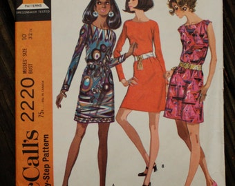 McCall 2220 1960s 60s Mod Mini Dress Vintage Sewing Pattern Size 10 Bust 32.5