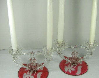 Vintage RUBY Red Flash CANDLEHOLDER Set/2 Etched Daffodil Glass Candle Stick