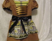 On Sale - Girl's 'Honey Be Mine' Dirndl/Dress With Attached Apron, size 3 to 4, Ready To Ship Now