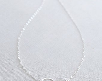 Double Circle Necklace - sterling silver connected circles necklace - eternity necklace - 1133