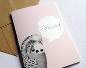 Santes Dwynwen Welsh Cariad Budgie Love Pink Eco Friendly Art Greeting Card