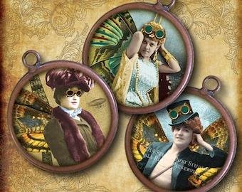 "Steampunk Fairies - Victorian Paris, Airships, Hot Air Balloons - 1"" Circles - Digital Collage Sheet, Printables, Instant Download"