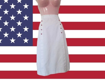 1970s vintage rockabilly white midi red star pencil skirt size extra small xs 2 4