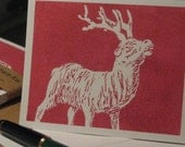 Reindeer cards, set of 8 cards and envelopes, on recycled stock, set of recycled holiday cards, Christmas cards