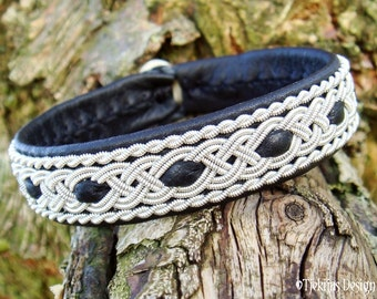VANAHEIM Black Viking Bracelet - Swedish Sami Reindeer Leather Cuff with Spun Pewter Braids and Antler button - Handmade Nordic Spirit
