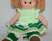 Rag Doll, Hand Crocheted Doll Clothes, Blonde Doll, Plush Doll, Fabric Soft Doll, Childs Doll, Child Toy, Childrens Plush Toy