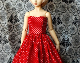 SD Red And White Polka Dot Dress For 1/3 BJD - One Only