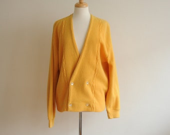 Vintage 60's 70's Mustard Yellow Cardigan Sweater by Sears Sportswear Made in USA, size Large