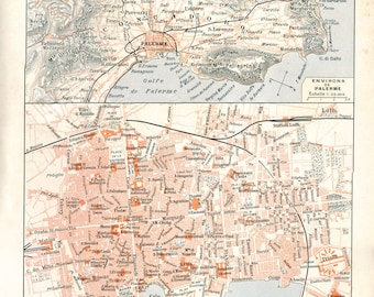 Palermo Vintage Street Plan 1920s, Palermo and Environs Map