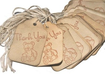 Baby Shower Favor Gift Tags Teddy Bear Stamped Set of 35 Vintage Inspired Tags. small. miniature tiny mini