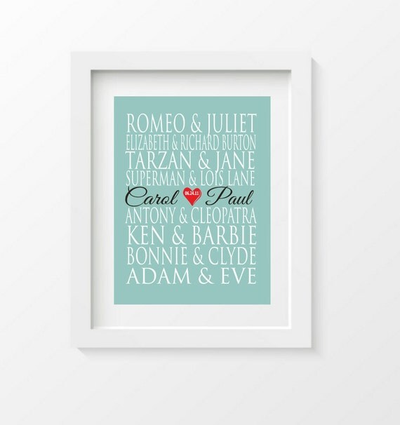 Personalized Couples Gift - Art Print Name - Famous Lovers - custom wedding gift - engagement gift, Bridal Shower Gift