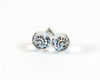 Disco Ball Earrings  6mm Round Sphere Crystal Clear Swarovski Crystals on Titanium Post Earring  Hypoallergenic Nickel Free Jewelry