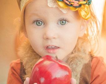 Beautiful Fall Headband in Teal, Sunflower Yellow and Orange Ivory Lace headband