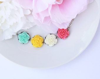 Colorful Flower Bracelet, Shabby Chic Jewelry, Vintage Style, Gift For Daughter, Pretty Floral Jewelry Under 30, Unique Jewelry Gift For Mom