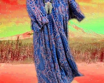Bohemian Oversized Bell Sleeve Blue Purple Paisley Hippie Dress