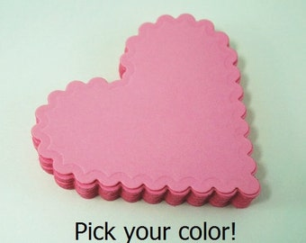 Scalloped Hearts Die Cut, Scalloped Hearts Cut Outs, Large Scalloped Hearts, Valentine Notes, Heart Die Cuts, Pick Your Color Cardstock Love