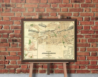 Johannesburg map  - Old map of Johannesburg  - Fully restored - Vintage maps fine prints