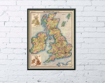 Antique map  - British Isles vintage map - Old map restored  fine reproduction