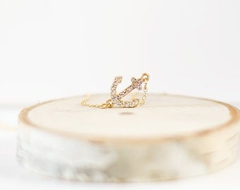 Gold Anchor Necklace | Sideways Anchor | Rhinestone Anchor | Simple Everyday Jewelry | Nautical Sailor Navy | Golden Anchor Jewelry