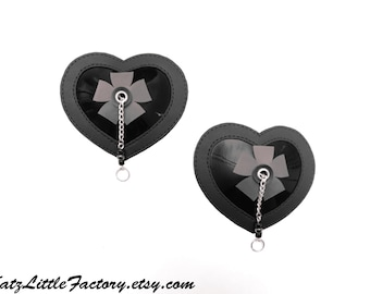 Heart Shaped Pasties Black PVC With Flowers And Chains