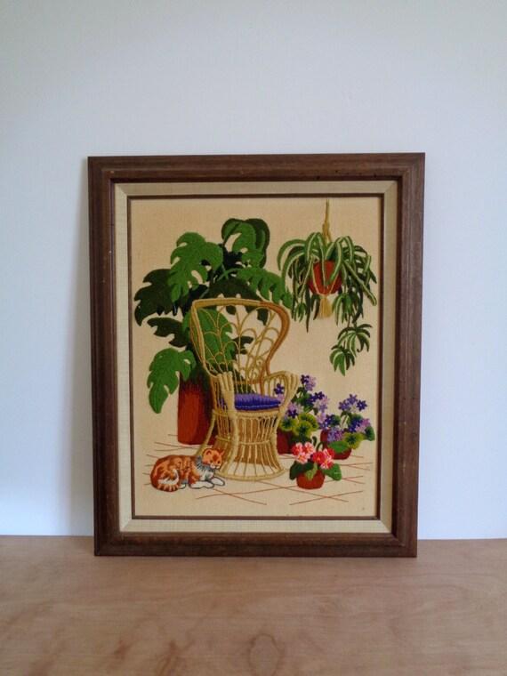 Large Vintage Crewel Embroidery Framed Art Natural Garden