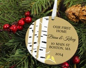 Our First Home Ornament - Birch Tree & Love Birds - Personalized Porcelain New House Holiday Ornament - Housewarming - orn438