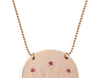 Crown coin necklace. avaiable in goldfilled only. set with zirkons. hand made.