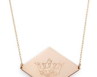 Lozenge shaped crown necklace. available in goldfilled/silver. hand made.