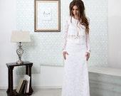 Allirea / Lace Boho Wedding Dress Featuring a Long Sleeve with Gemstone Details
