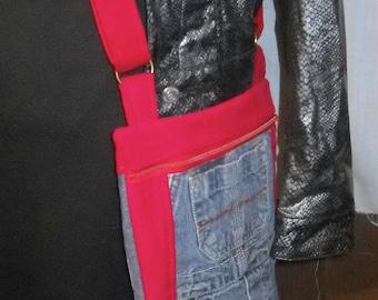 "Nightwingcreations Original small Sized Crossbody Messenger Bag, the ""Rhianna""  Bag, Blue Denim Overalls w/ Red Corduroy,"